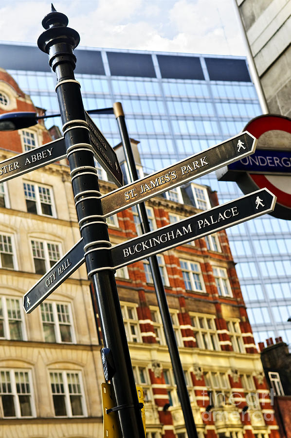 Signpost In London Photograph
