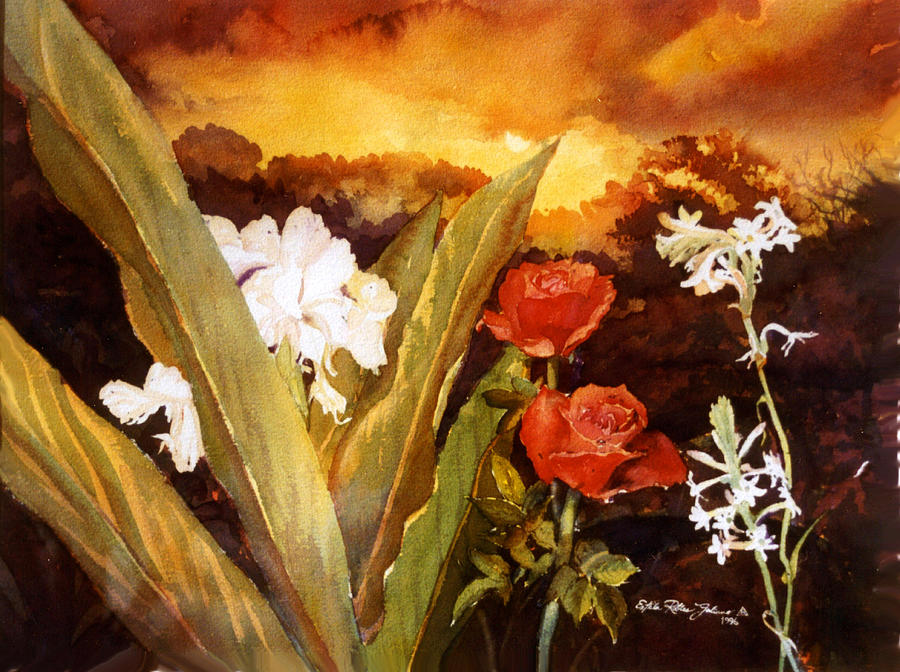 Watercolor Paintings Painting - Silence-flowers Sleeping by Estela Robles