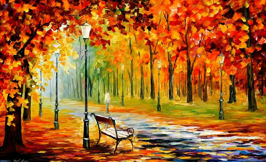 Silence of the fall painting by leonid afremov for Fall paintings easy