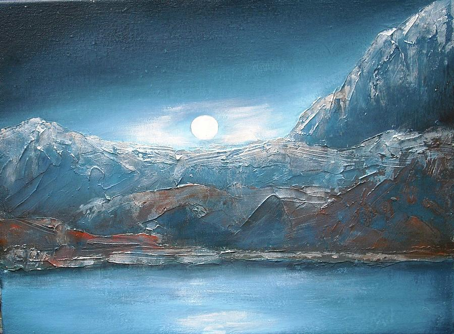 Abstract Painting - Silent Night In Silver by Anne Thomassen