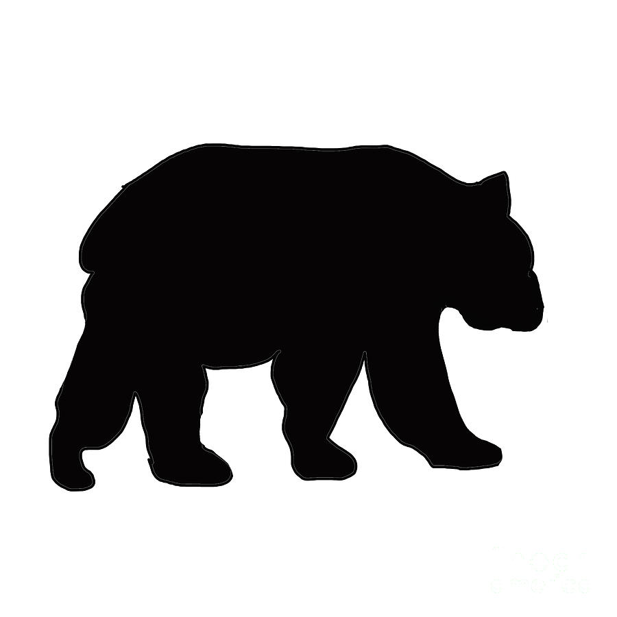 silhouette of Black Grizzly Bear Painting by Irene Irene