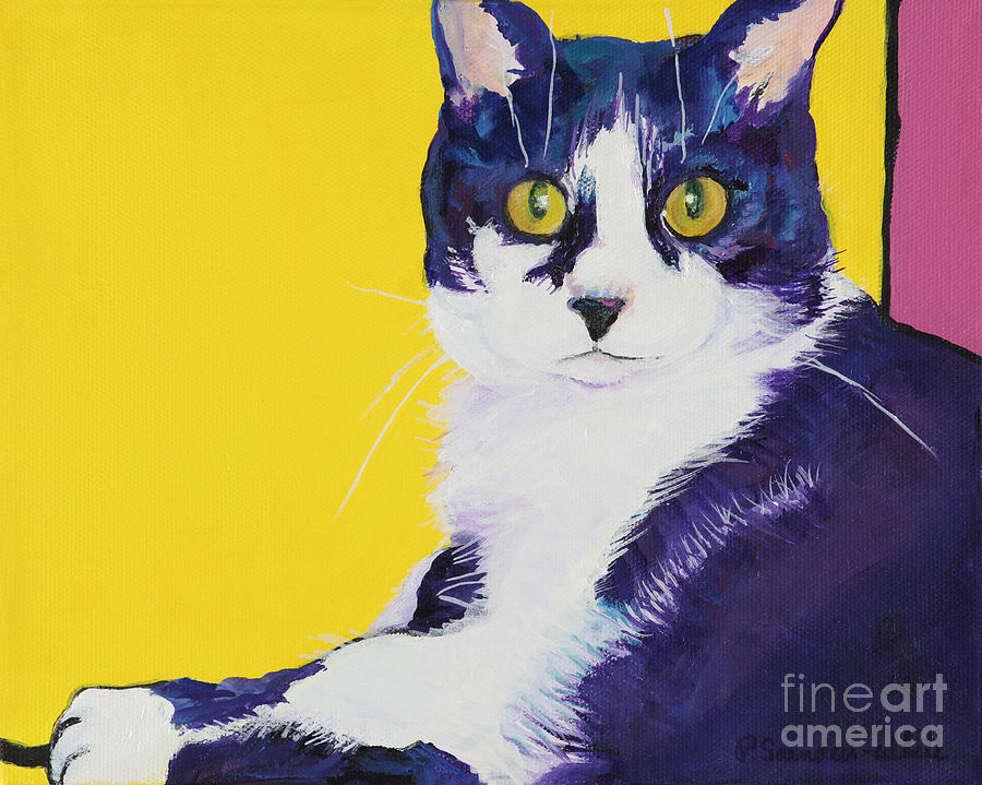 Tuxedo Cat Painting - Simon by Pat Saunders-White