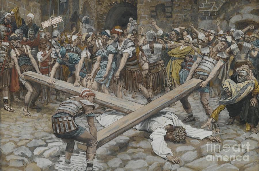 Life Of Christ; Passion; Simon Of Cyrene; Christ Fallen; Lying Face Down; Humiliated; Road To Calvary; Pushed; Forced; Angry Mob; Crowd; Roman Soldiers; Tissot Painting - Simon The Cyrenian Compelled To Carry The Cross With Jesus by Tissot