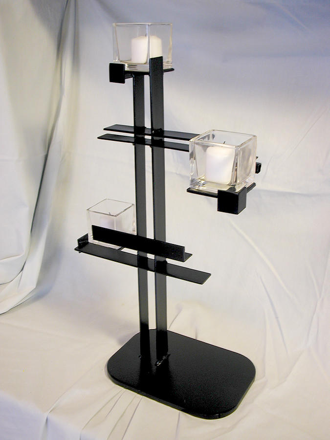 Candle Holder Sculpture - Simple De Stijl Candle Holder  by John Gibbs