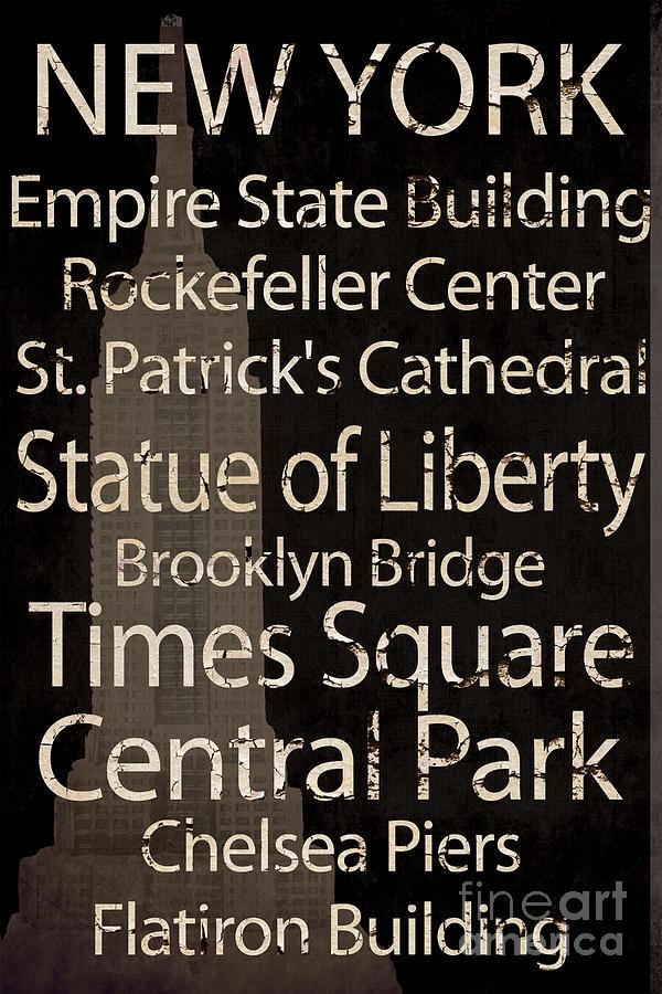 New York Mixed Media - Simple Speak New York by Grace Pullen