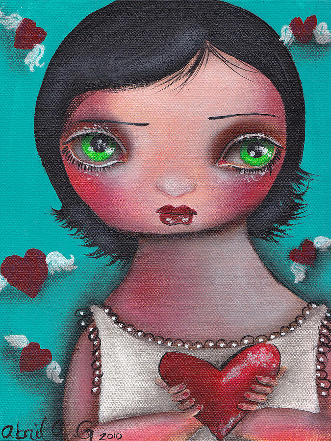 Hearts Painting - Sin Nombre by  Abril Andrade Griffith