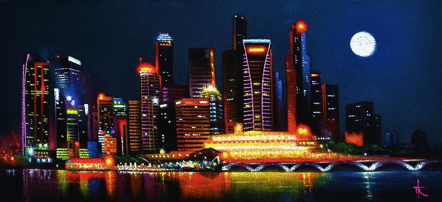 Singapore Painting - Singapore Aglow by Thomas Kolendra