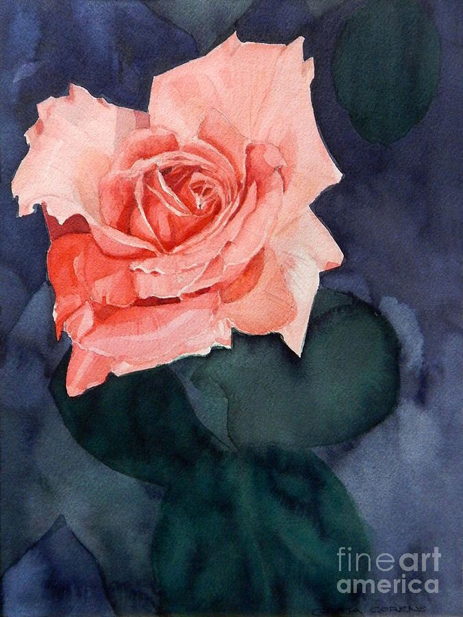 Watercolor Of A Magic Bright Single Red Rose Painting