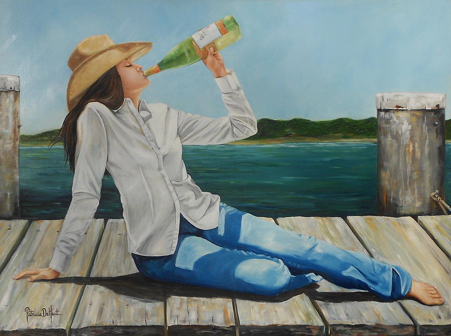 Bay Painting - Sippin On The Dock Of The Bay by Patricia DeHart