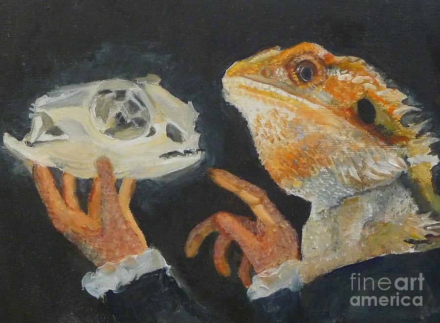 Shakespeare Painting - Sir Bearded-dragon As Hamlet by Jessmyne Stephenson
