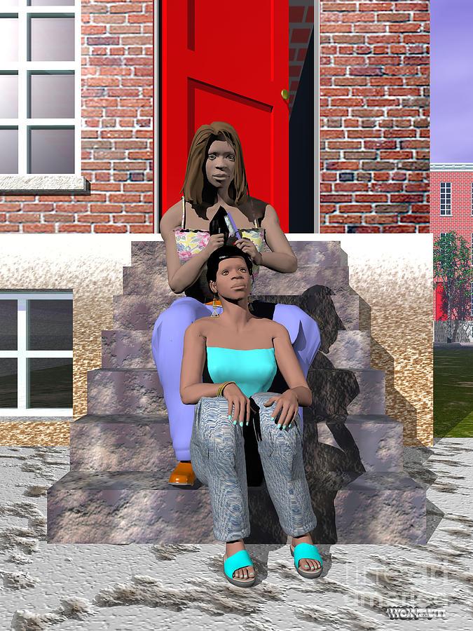 Portraits Digital Art - Sistahs by Walter Oliver Neal