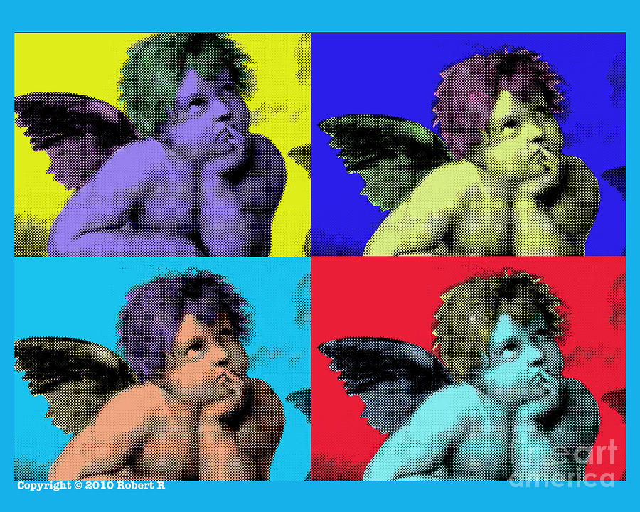 Sisteen Chapel Painting - Sisteen Chapel Blue Cherub Angels After Michelangelo After Warhol Robert R Splashy Art Pop Art Print by Robert R Splashy Art