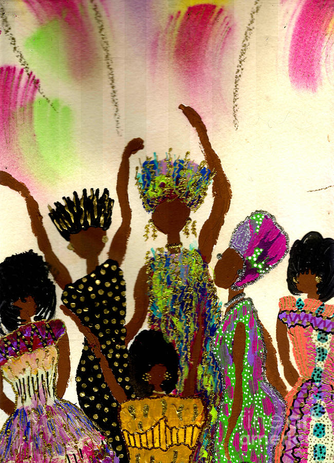 Vibrant Painting - Sisterhood by Angela L Walker