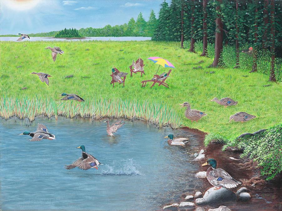 Duck Paintings Painting - Sitting Ducks by Cindy Lee Longhini