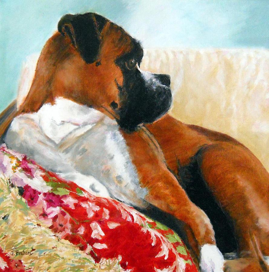 Pet Portrait Painting - Sitting Pretty by Jill Brabant
