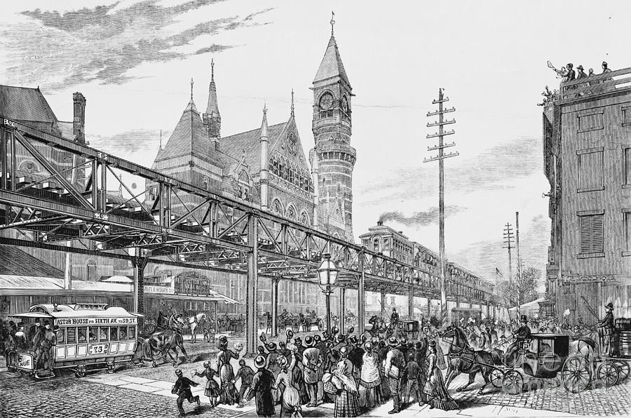 Railroad Photograph - Sixth Avenue El Train 1878 by Omikron