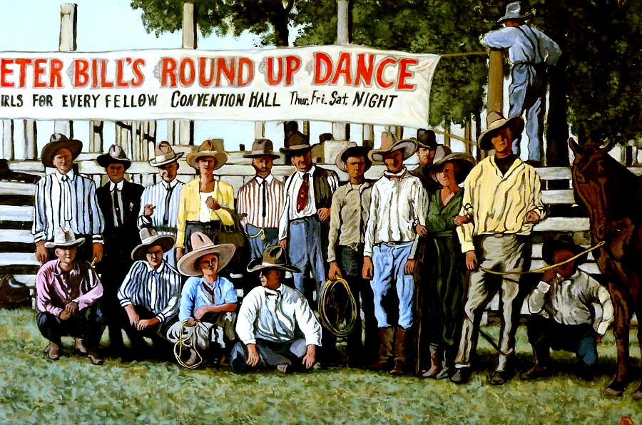Bull Painting - Skeeter Bills Round Up by Tom Roderick