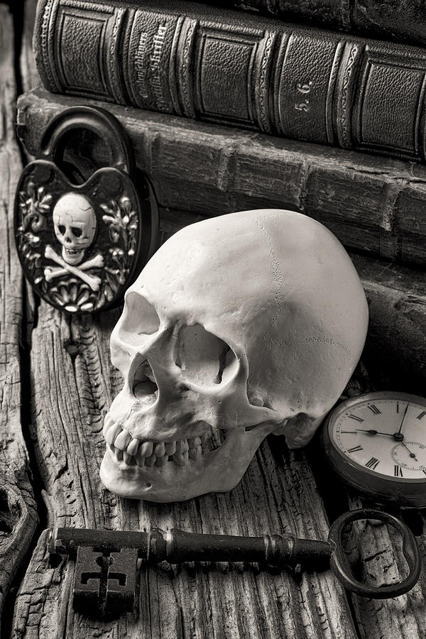 Skull Photograph - Skull And Skeleton Key by Garry Gay