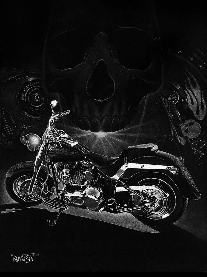 Pencil Illustration Drawing - Skull Harley by Tim Dangaran