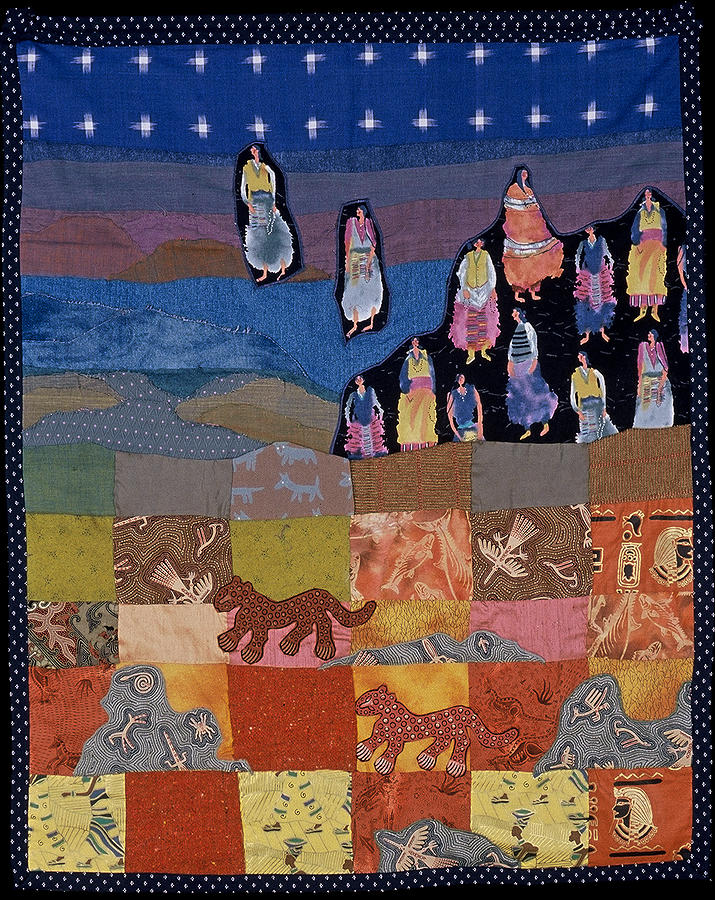 Quilt Tapestry - Textile - Sky Dancers by Roberta Baker
