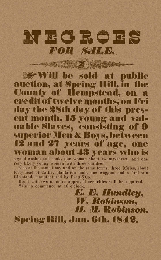 Slavery Drawing - Slave Auction by War Is Hell Store