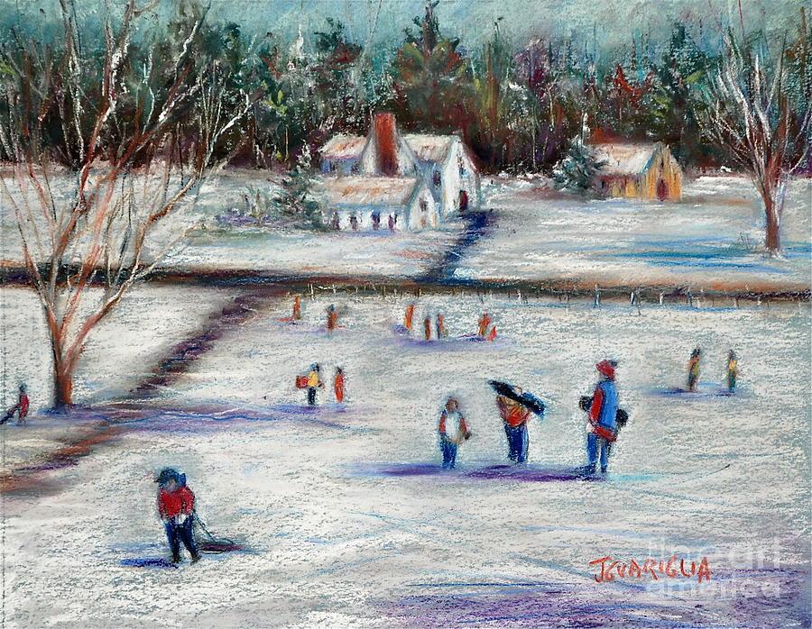 Snow Landscape Pastel - Sledding by Joyce A Guariglia