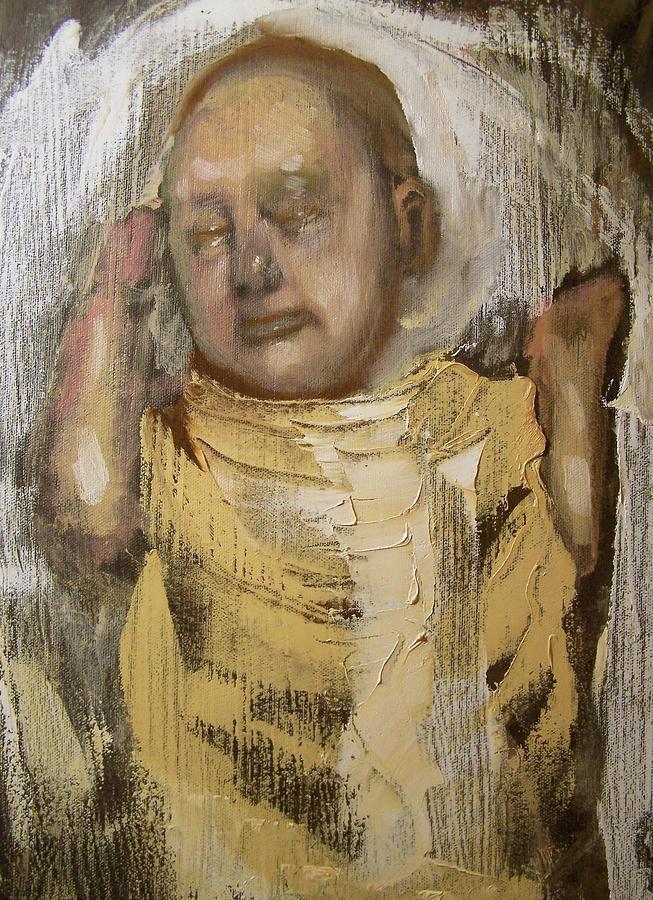 Realism Painting - Sleeping Baby In Golden Cloth by Derek Van Derven