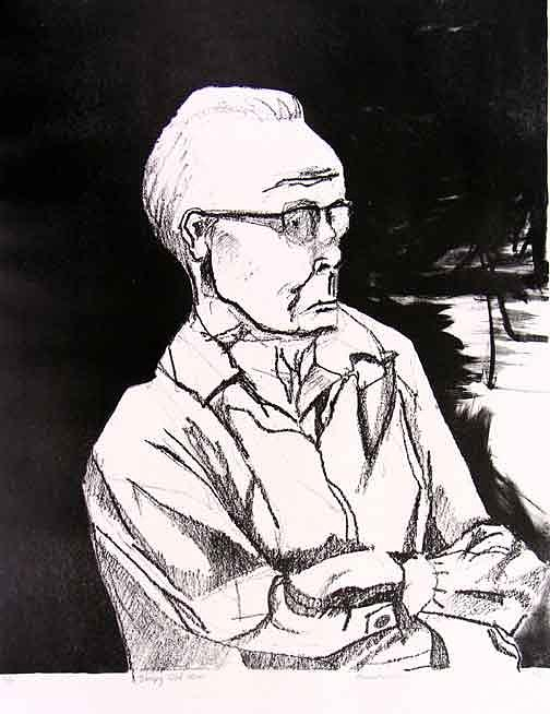 Lithograph Drawing - Sleepy Old Man by Brad Wilson