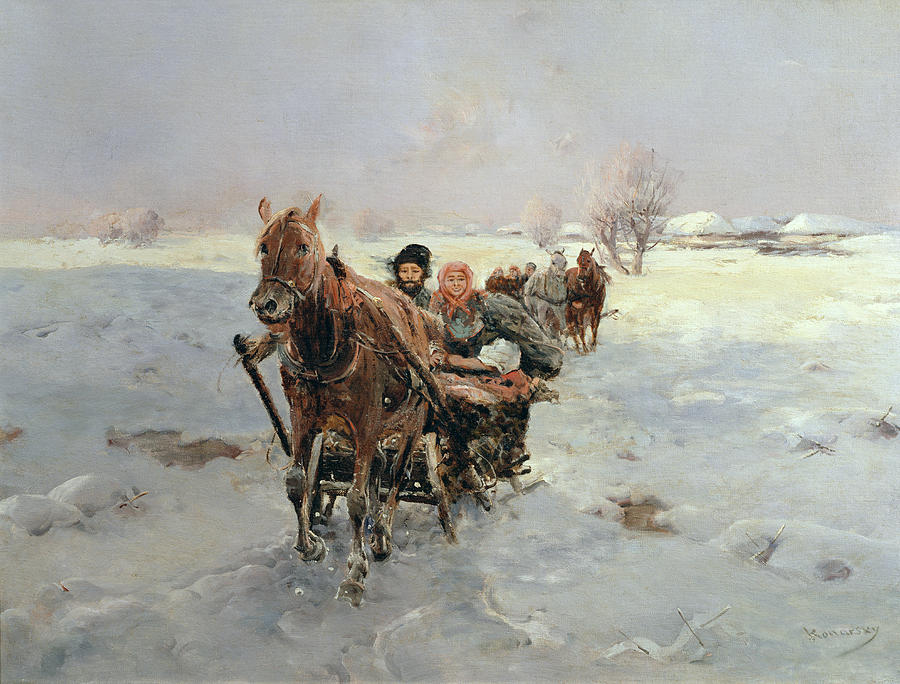 Sleighs Painting - Sleighs In A Winter Landscape by Janina Konarsky