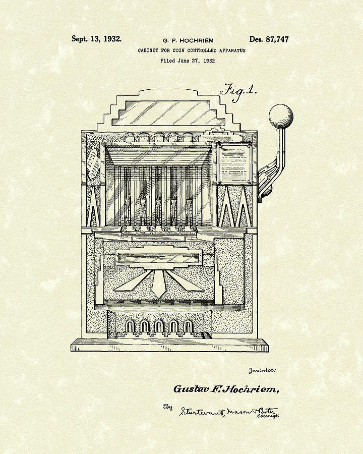 slot machine 1932 patent art drawing by prior art design. Black Bedroom Furniture Sets. Home Design Ideas