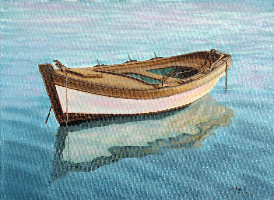 Small boat painting by andreja dujnic for Small motor boat cost