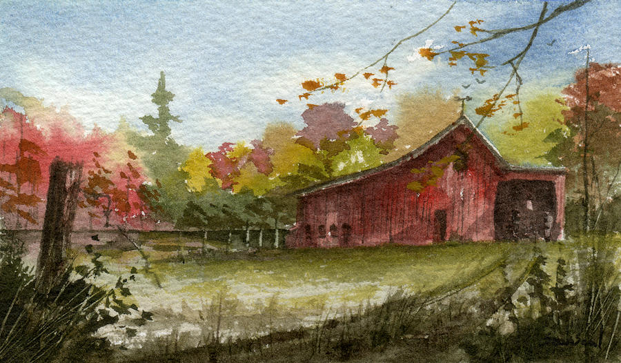 Small Fall Barn Painting By Sean Seal