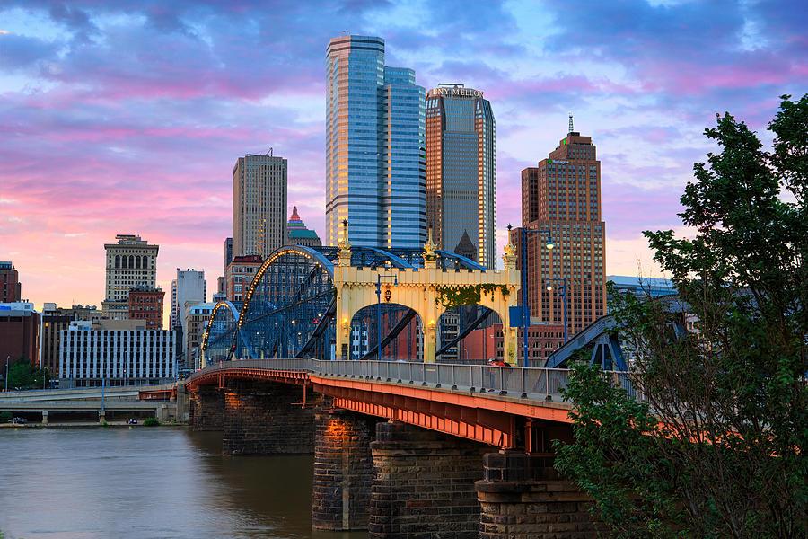 Pittsburgh Skyline Photograph - Smithfield Street Bridge by Emmanuel Panagiotakis
