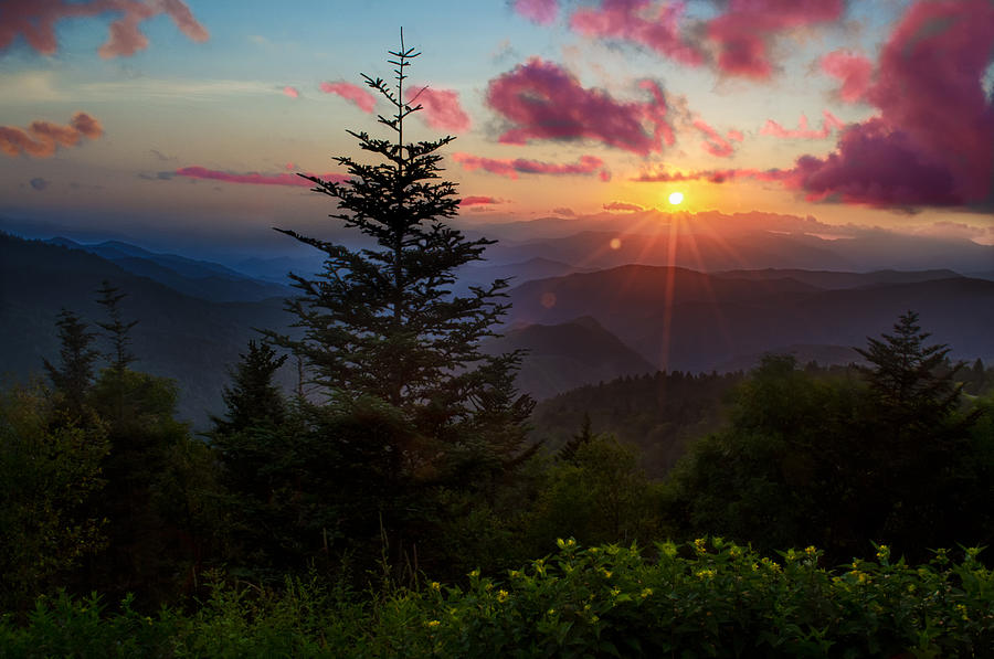 Great Smoky Mountains Photograph - Smoky Mountain Sunset by Christopher Mobley