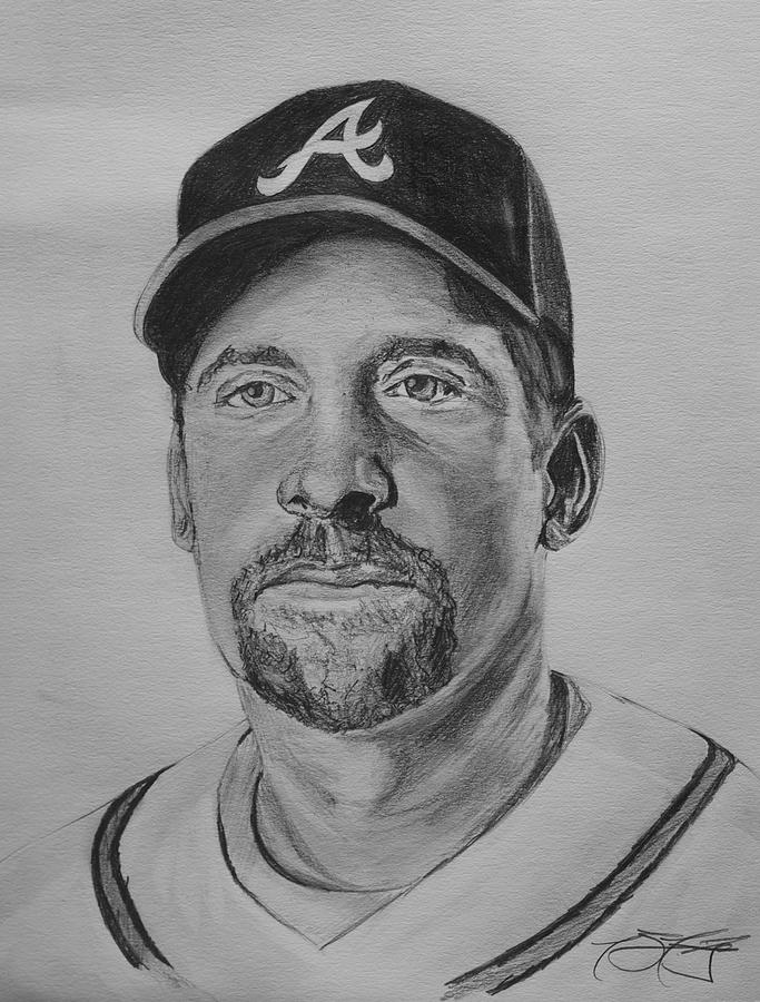 John Smoltz Drawing - Smoltz by Ryan Fritz