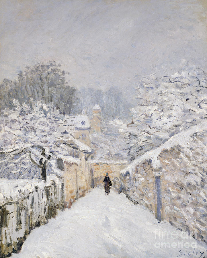 Snow At Louveciennes Painting