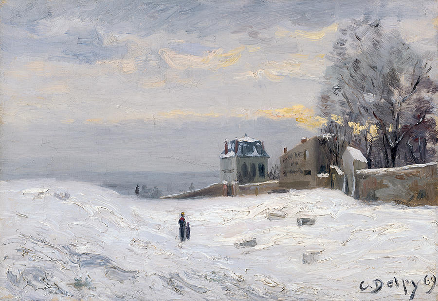 Snow At Montmartre Painting by Hippolyte Camille Delpy
