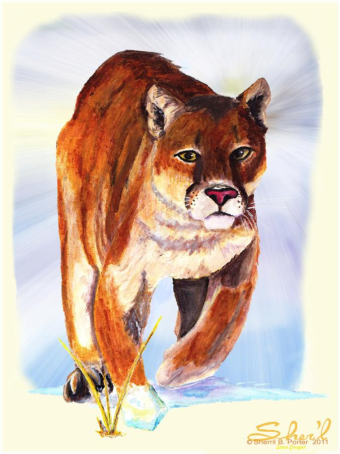 : Wildlife Painting - Snow Cougar by Sherril Porter