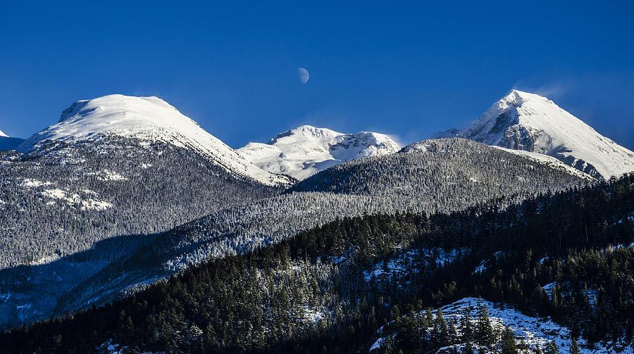winter snow mountain moon - photo #1