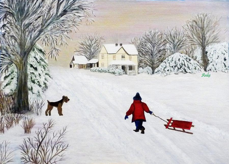 Anke Wheeler Painting Painting - Snow Fun by Anke Wheeler