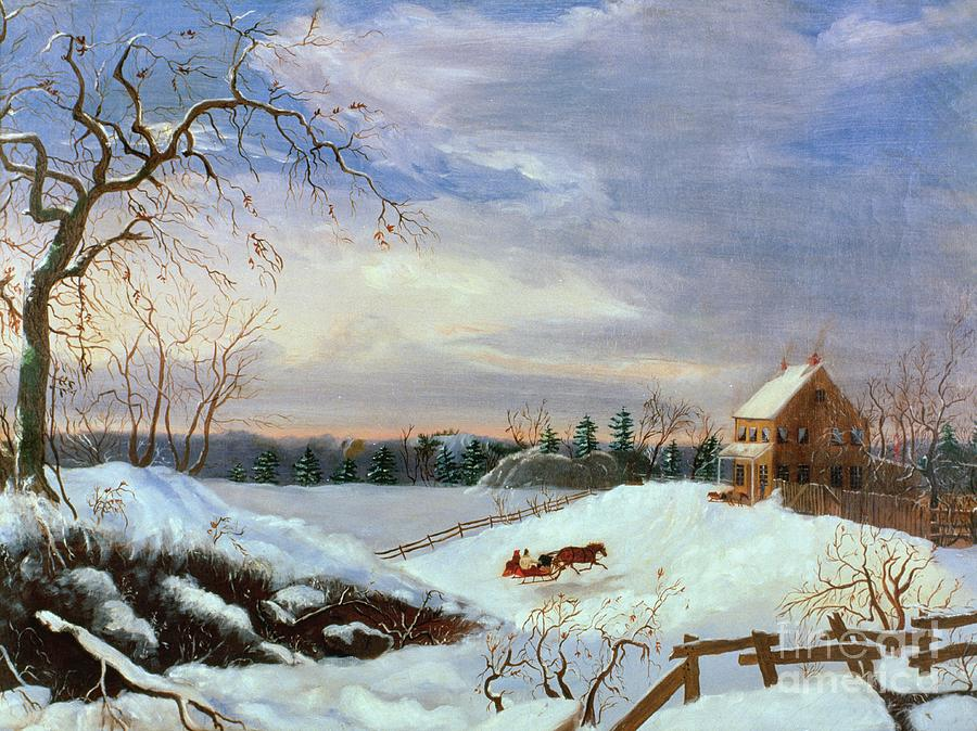 Snow Scene In New England Painting