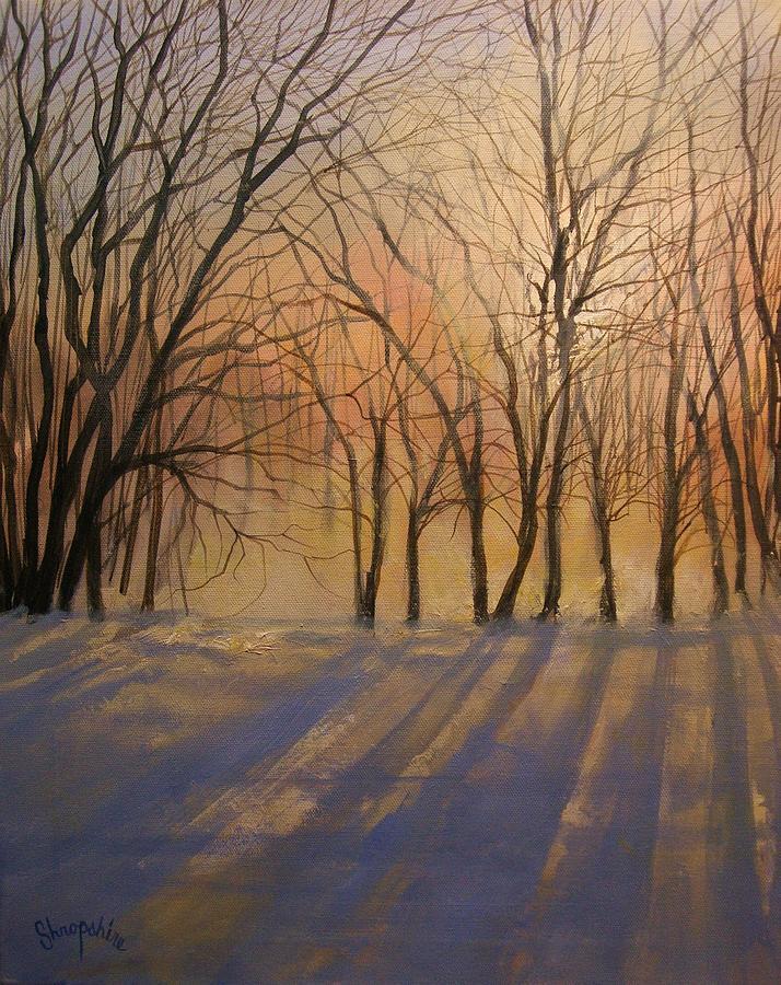 Impressionist Painting Painting - Snow Shadows by Tom Shropshire