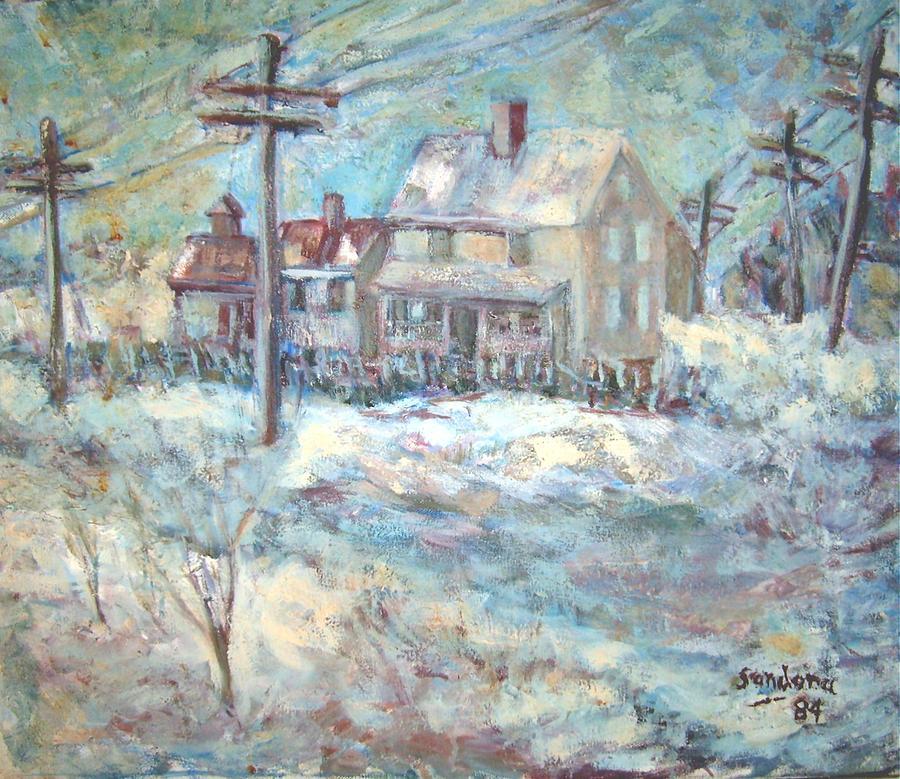Snow Storm White Tele Poles Houses Landscap  E Wires Wind Painting - Snow Storm  by Joseph Sandora