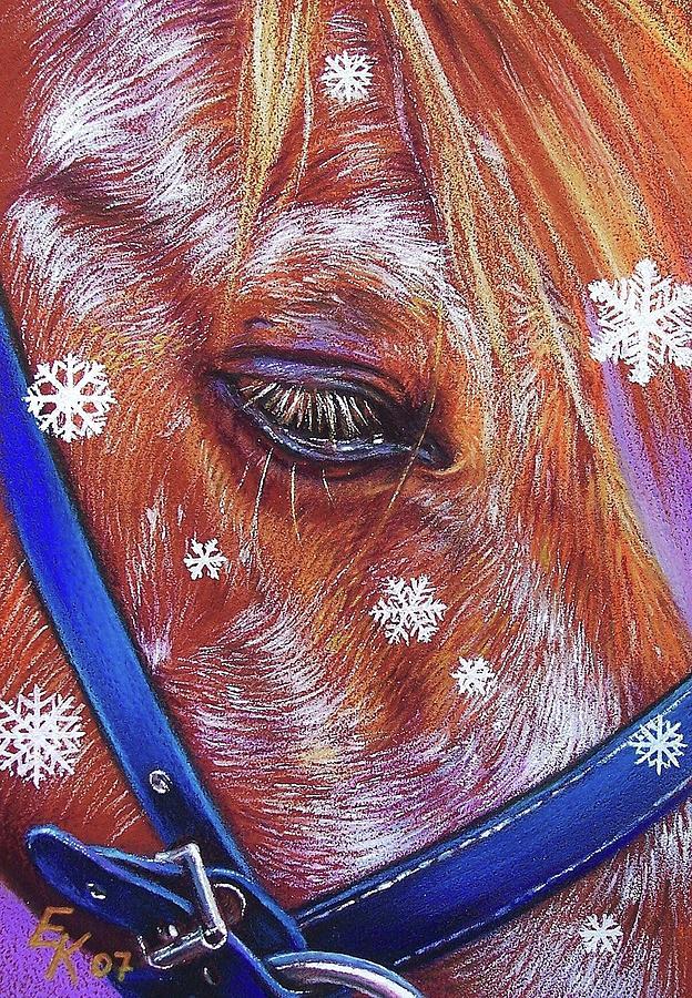 Horse Aninal Portrait Equine Snowflakes Art Pony Drawing - Snowflakes by Elena Kolotusha