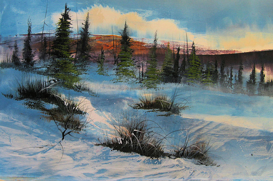 Landscape Mixed Media - Snowscape by Robert Carver