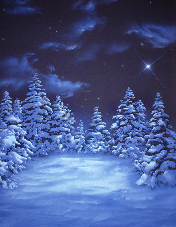 Night Time Snow Scene Painting - Snowstars by William Rogers