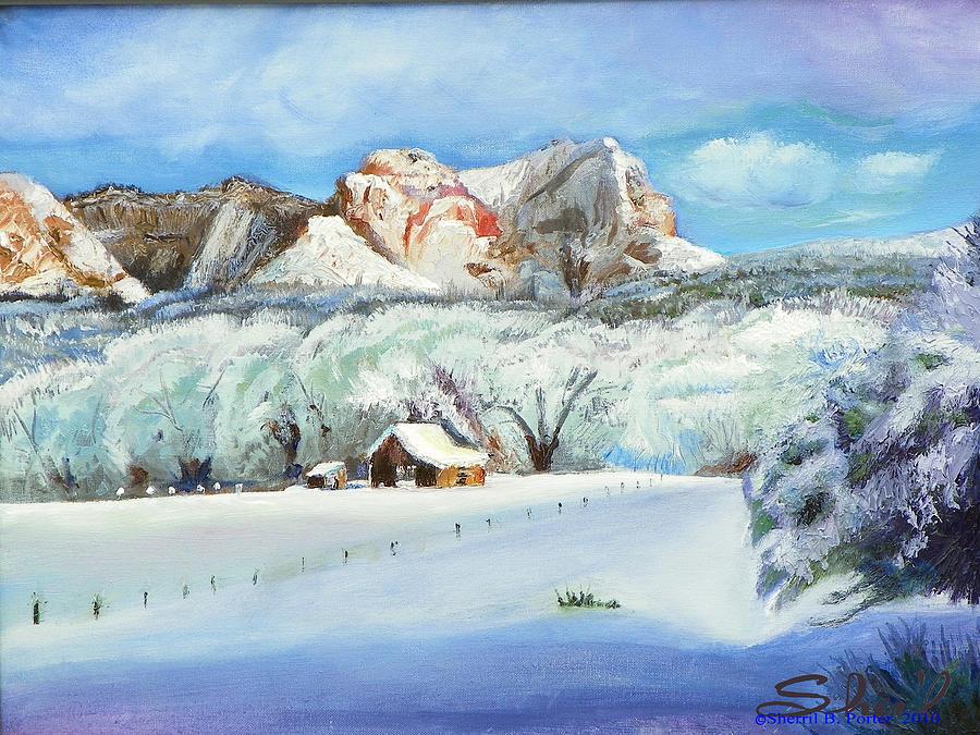 Utah Painting - Snowy Sugar Knoll by Sherril Porter