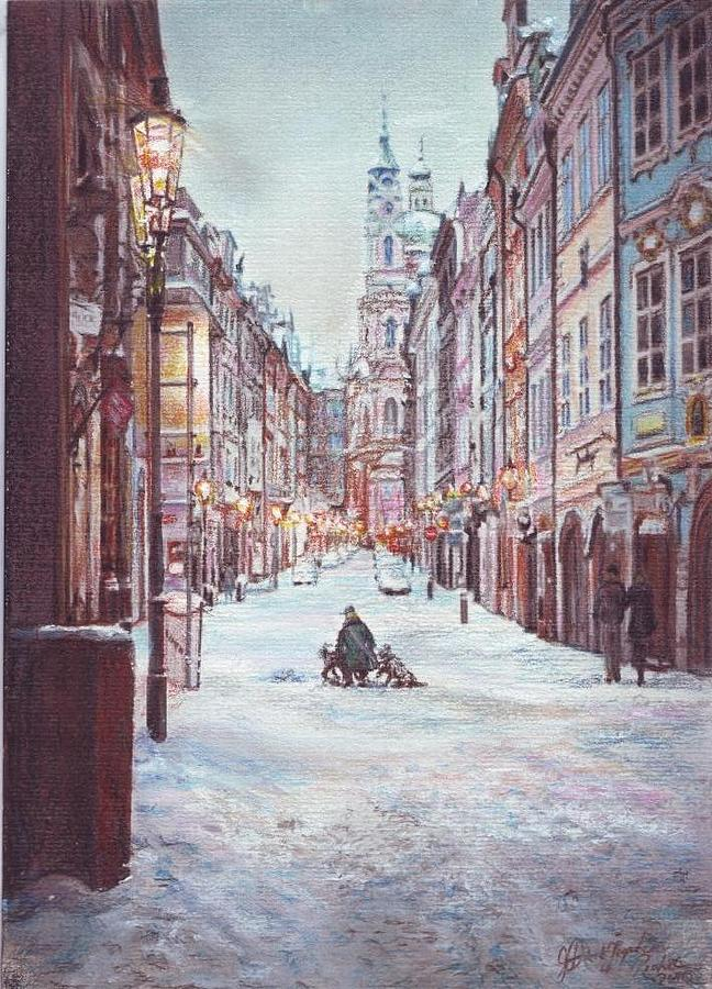 Prague Pastel - snowy Sunday night in Prague by Gordana Dokic Segedin