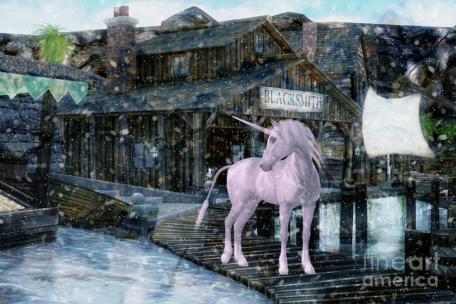 Snowy Unicorn Digital Art