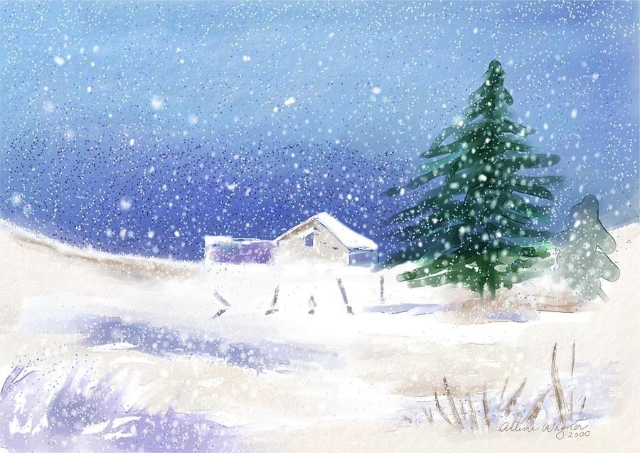 Snow Digital Art - Snowy Winter Scene by Arline Wagner
